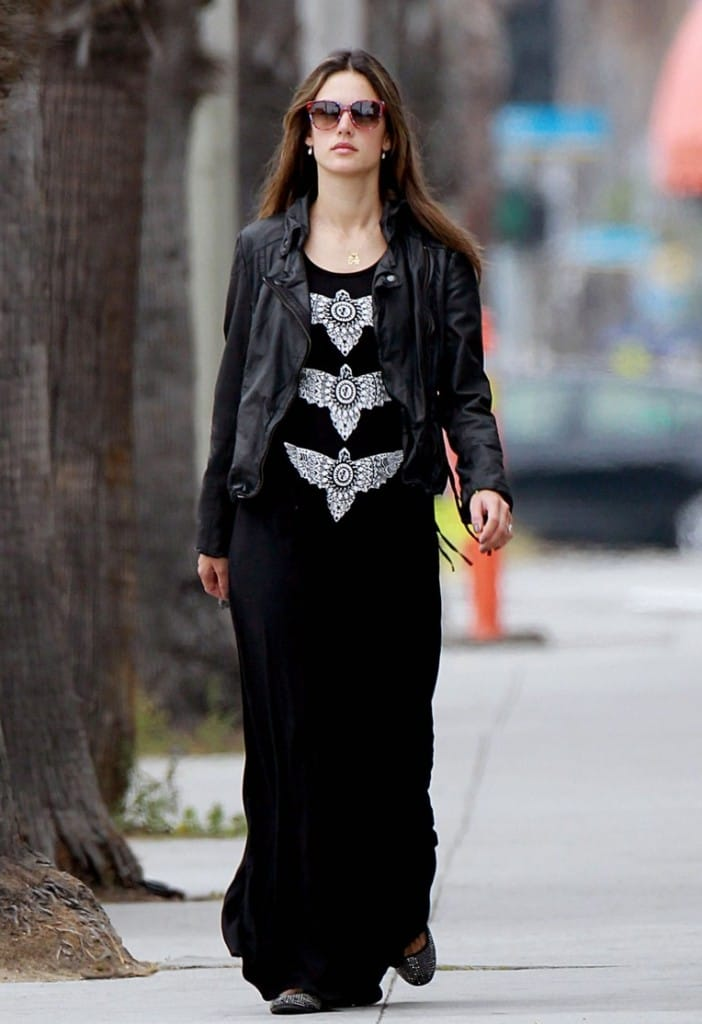 Alessandra Ambrosio wears Muubaa Meggie Leather Biker Jacket