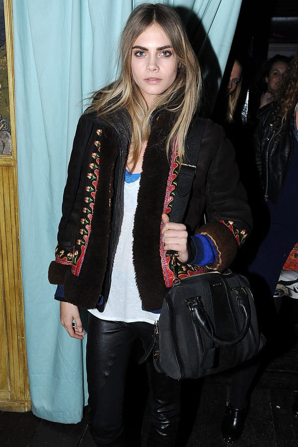 Cara Delevingne wearing Muubaa leather trousers