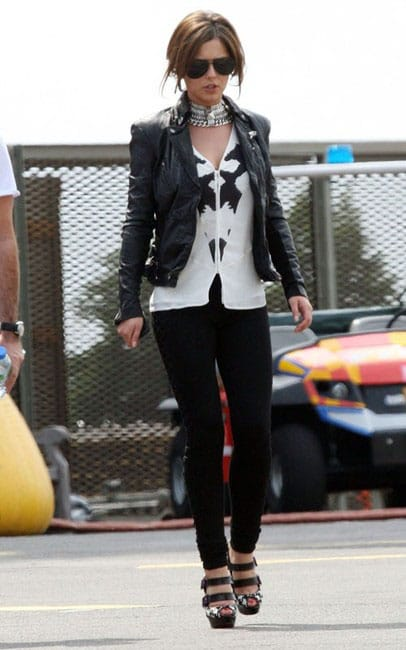 Cheryl in Muubaa Cion fitted biker jacket