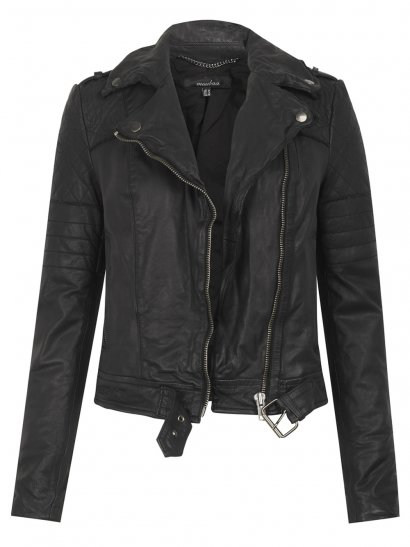 Muubaa Minsk Leather Quilted Biker in Black