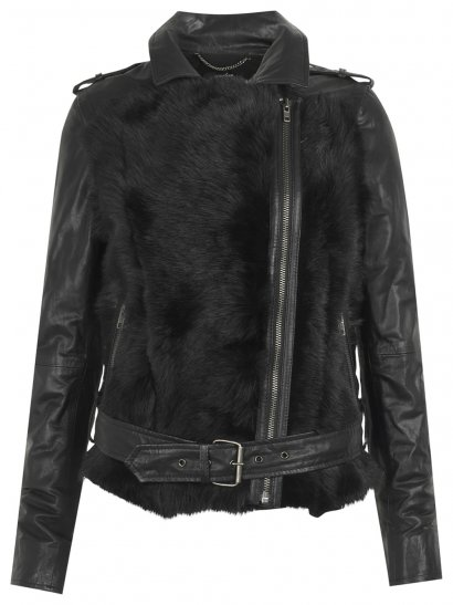 Muubaa Aurora Shearling Biker Jacket in Black