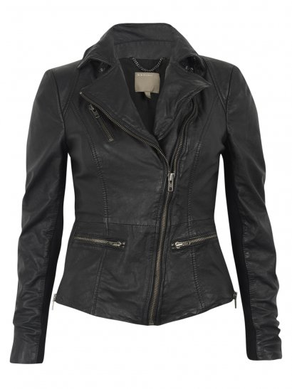 Muubaa Sirius Black Leather Biker Jacket