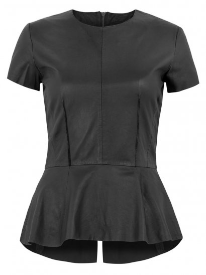 Muubaa Aquila Leather Peplum Shirt in Black