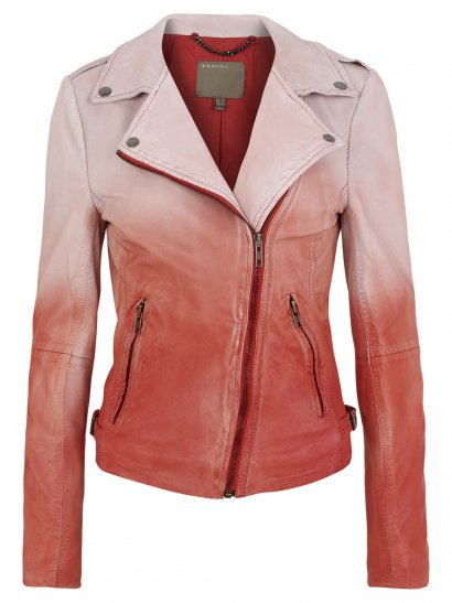 Muubaa Fornas Dip Dyed Ombre Leather Biker Jacket in Coral