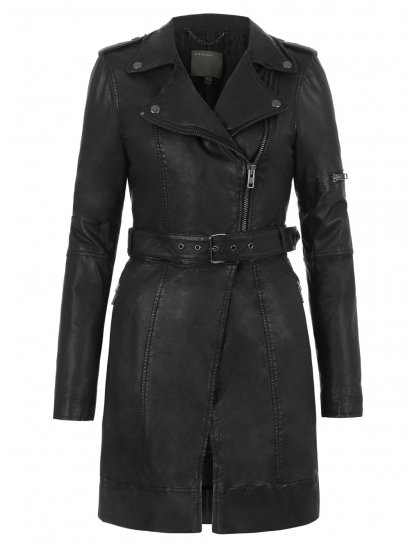 Muubaa Taras Leather Convertible Coat in Black