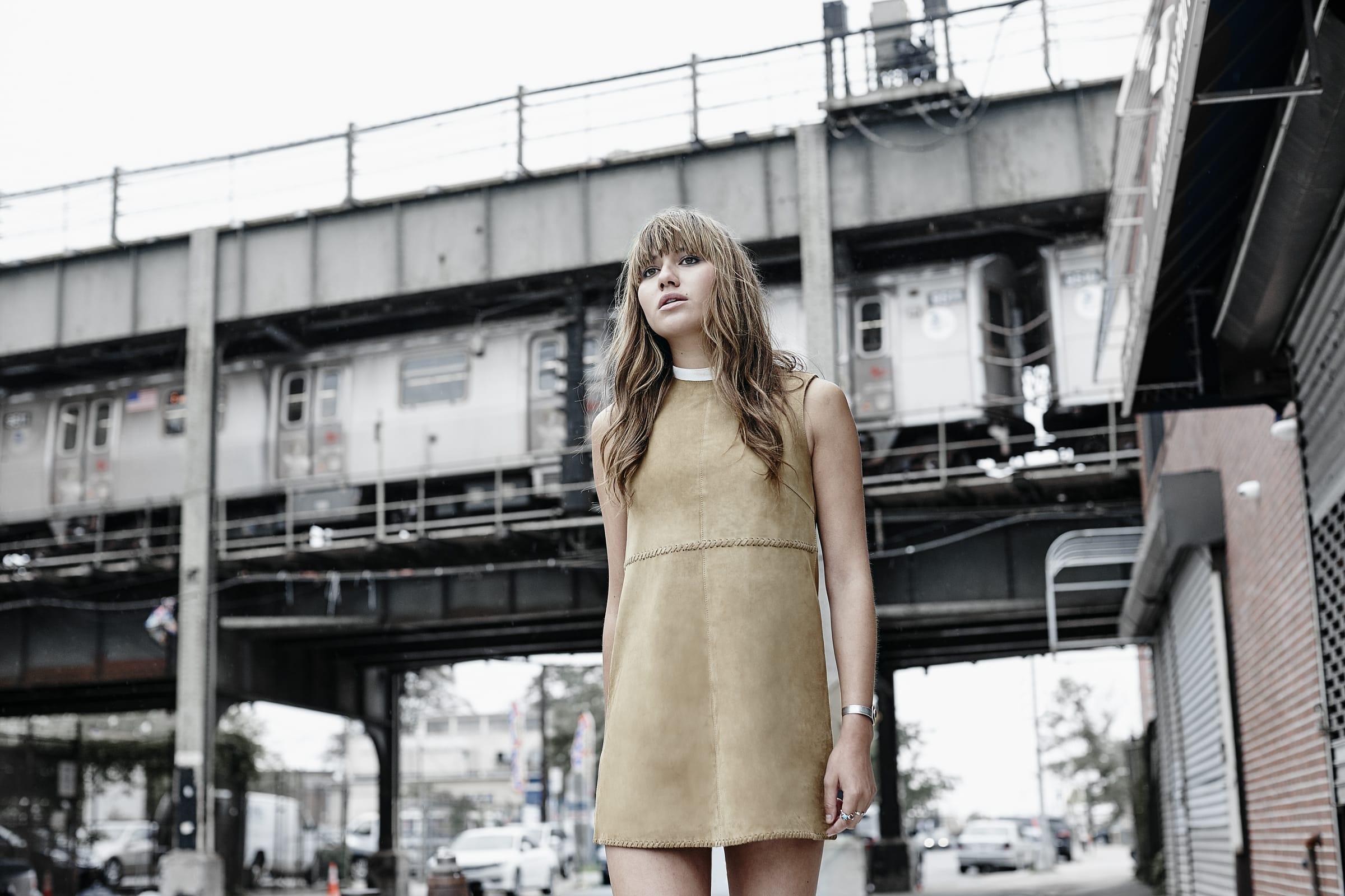 Emden Sand Suede Mini Shift Dress. Shop here: https://www.muubaa.com/dresses-c25/emden-sand-suede-mini-shift-dress-p873