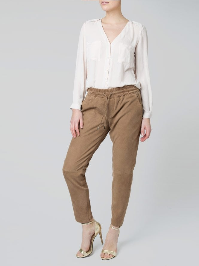 Amelia Ash Brown Suede Trousers