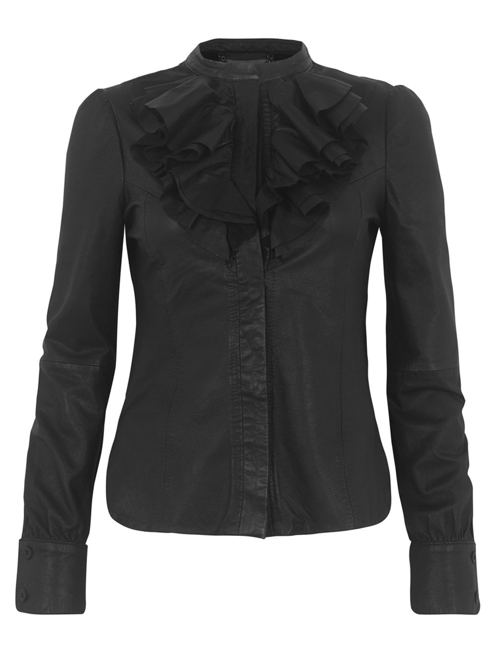 Leather Ruffle Blouse in Black