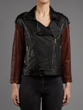 Arkley Black & Red Leather Biker Jacket