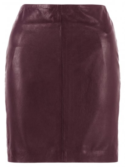 Azka Leather Fitted Skirt in Deep Red