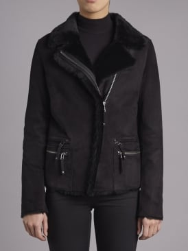 Barracuda Black Shearling Biker Jacket