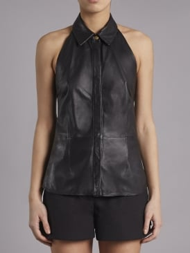 Bellanca Black Leather Halter Neck Shirt