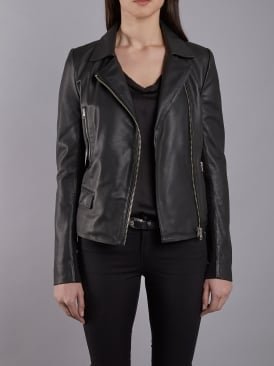 Bentley Black Leather Biker Jacket