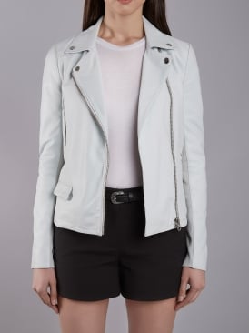 Bentley Blue Leather Biker Jacket