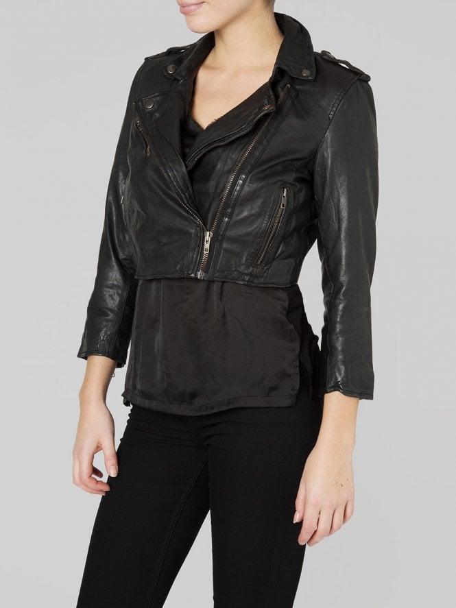 Black Leather Thanatos Cropped Biker Jacket