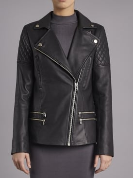 Boxkite Black Leather Longline Biker Jacket