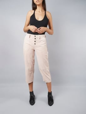Brewer Pink Suede High Waisted Trousers