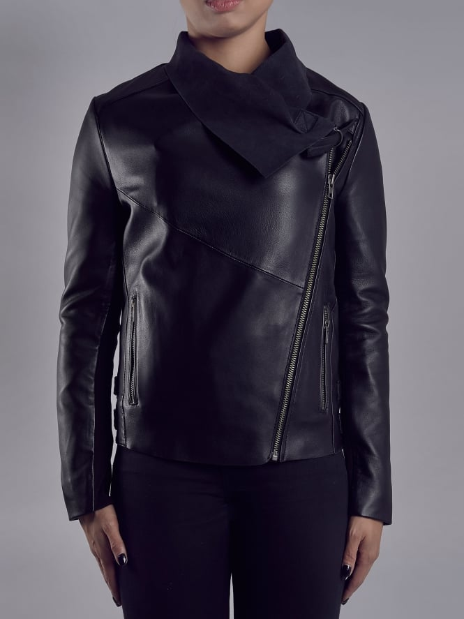 Brindley Black Leather Drape Front Biker