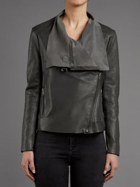 Brindley Granite Grey Drape Leather Jacket