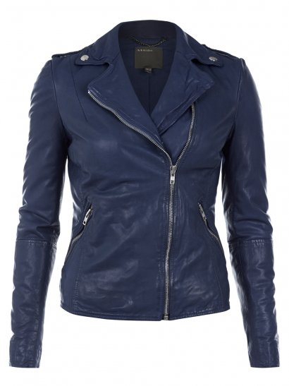 Carmona Blue Leather Biker Jacket