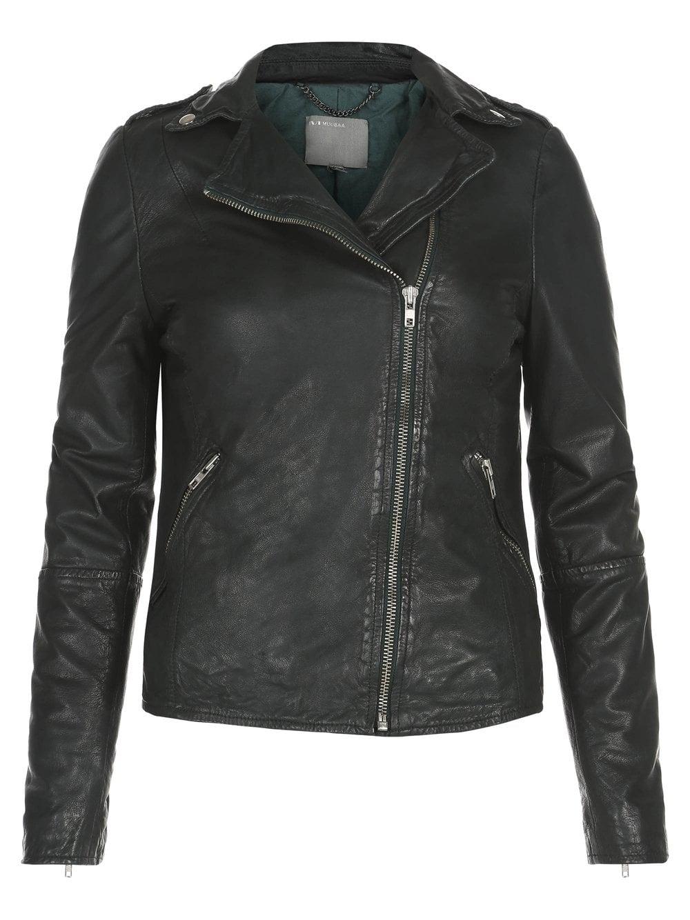 Muubaa Carmona Dark Green Leather Biker Jacket