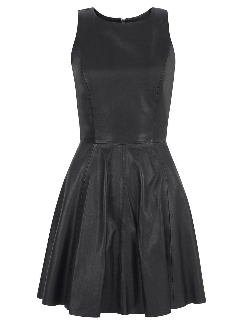 Muubaa Ceylon Leather Skater Dress in Black d3627d8e6