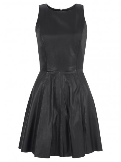 Ceylon Leather Skater Dress in Black