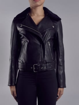 Chambra Black Leather Cropped Biker Jacket