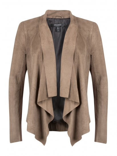 Chester Beige Suede Drape Front Bomber Jacket