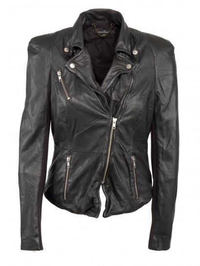 Cion 2012 Fitted Leather Biker Jacket in Black