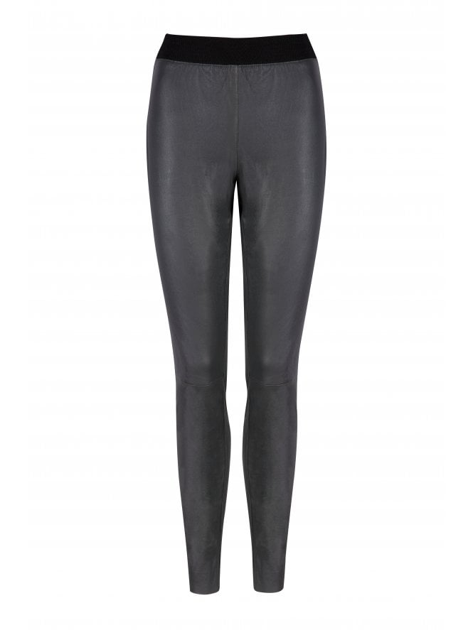 Cowley Stretch Charcoal Leather Leggings