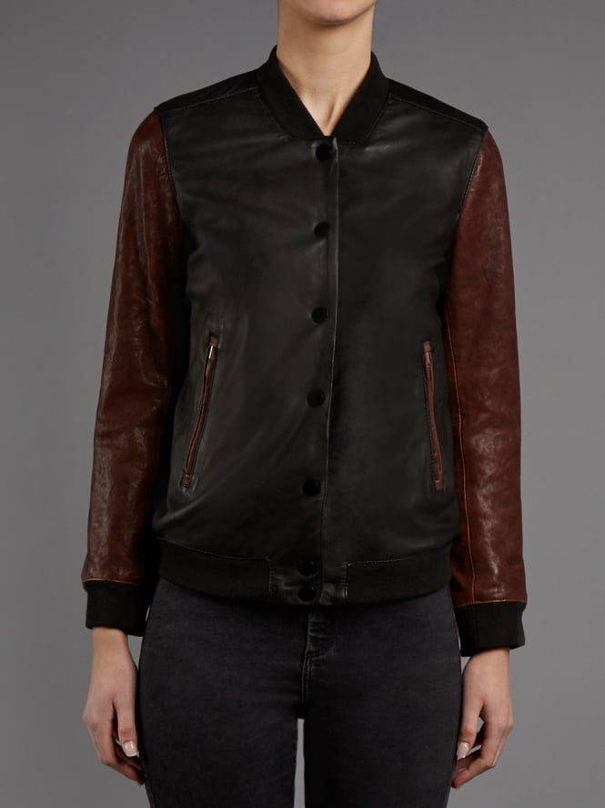 Cressida Black and Red Leather Bomber Jacket