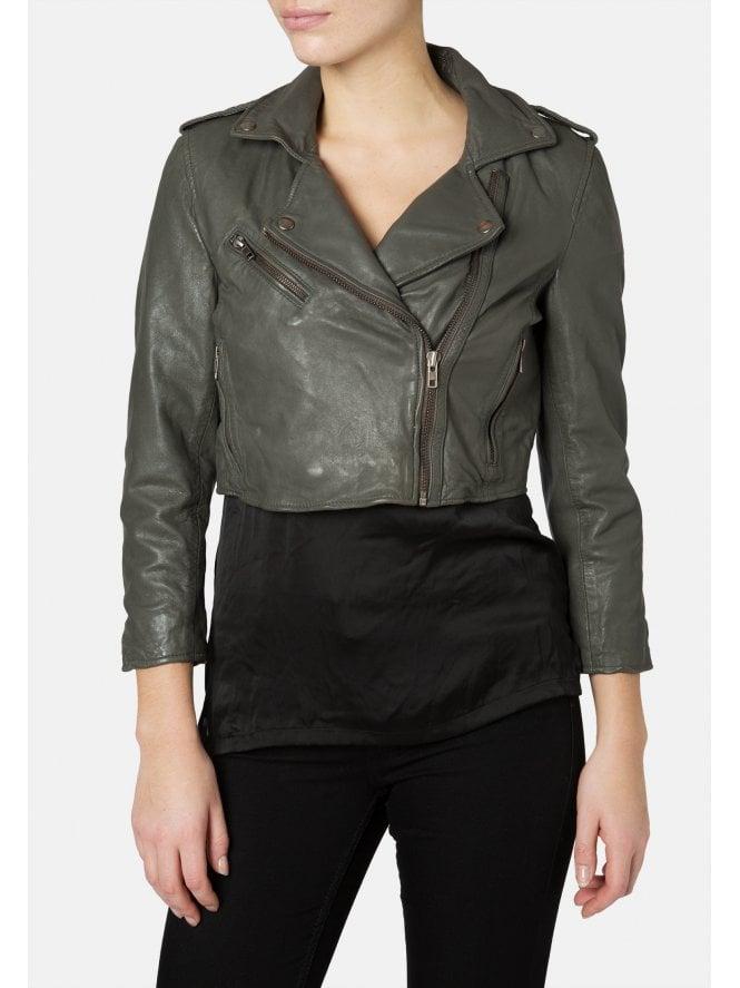 Dark Grey Leather Thanatos Cropped Biker Jacket