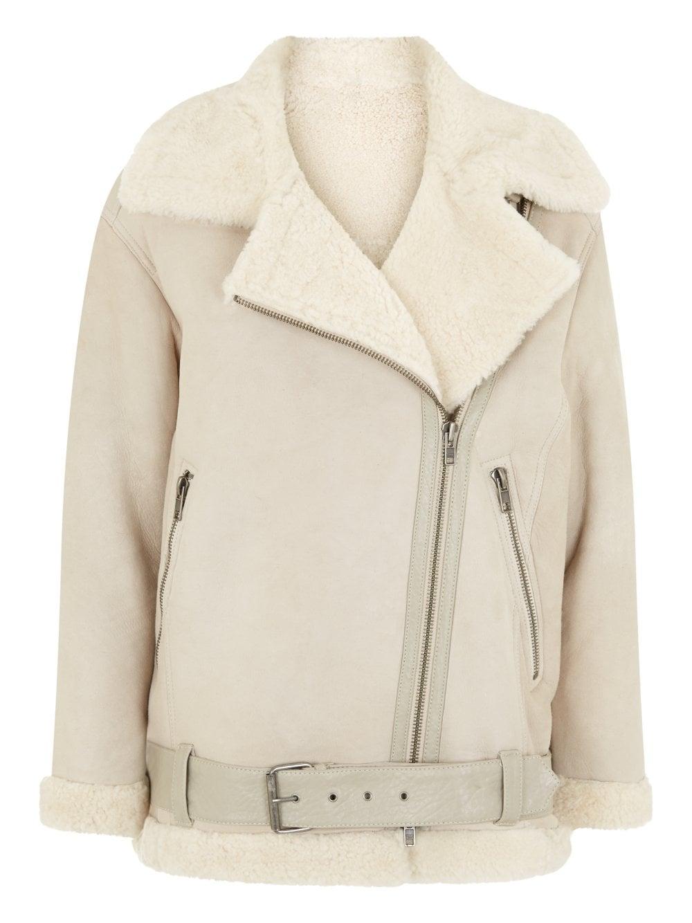 Ivory Shearling Biker Jacket