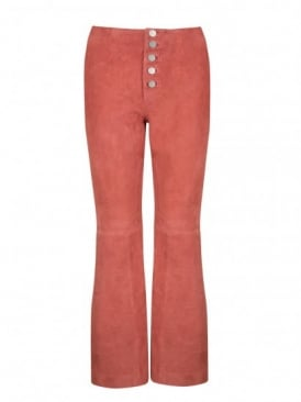 Defoe Rose Suede Flared Trousers