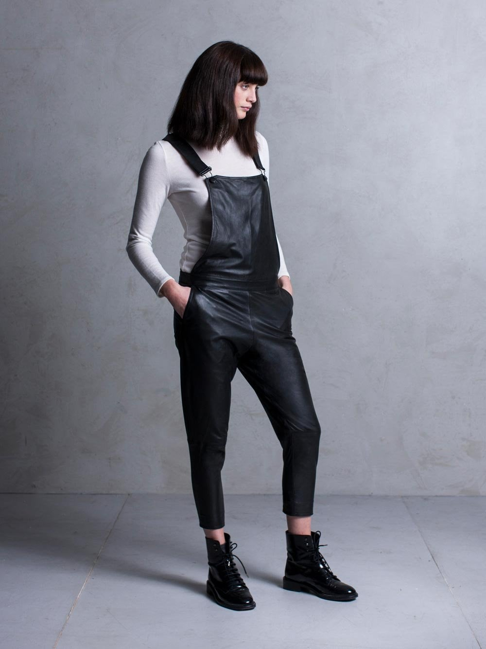 biggest selection latest sale large assortment Dorion Black Leather Dungarees