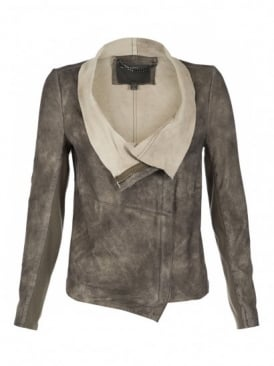 Elbe Beige Leather Jacket