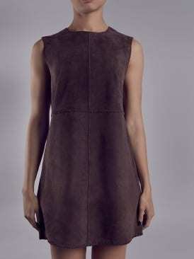 Emden Brown Suede Mini Shift Dress