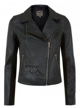 Everdene Black Leather Biker Jacket