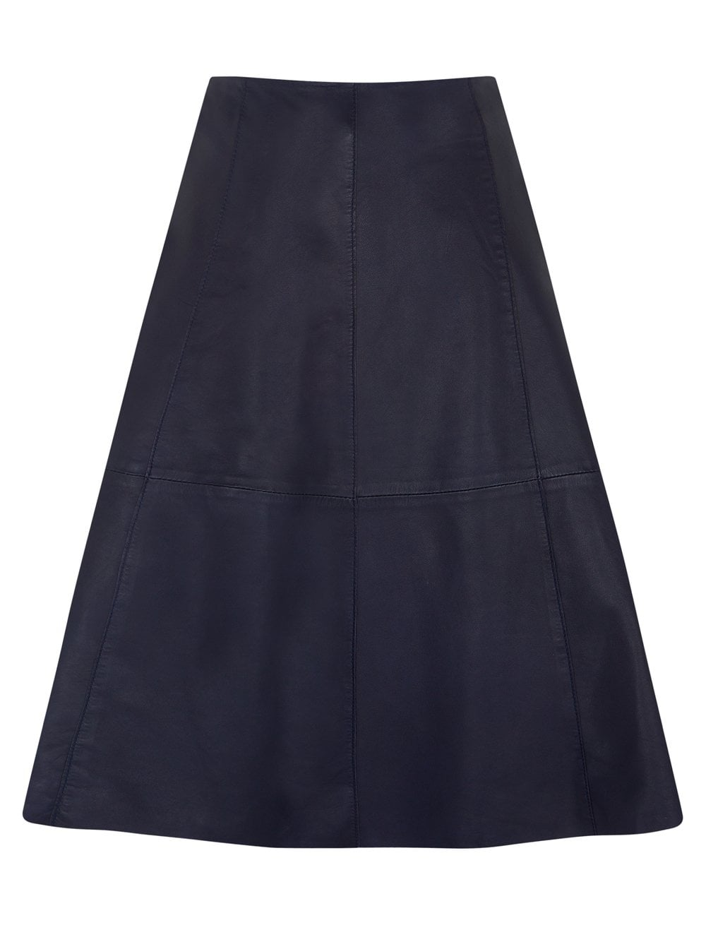 Navy Flared Leather Skirt