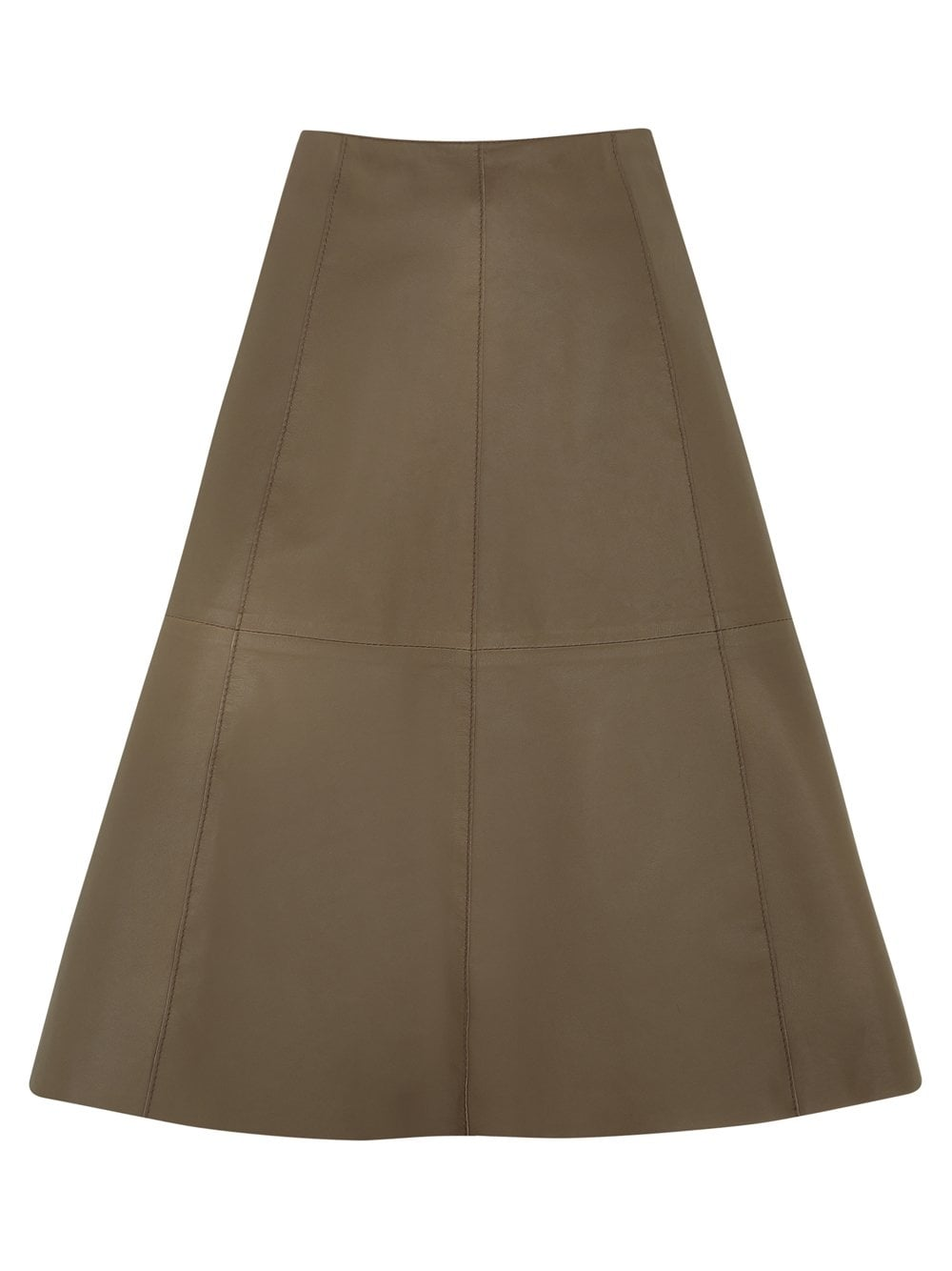 falda taupe flared leather skirt