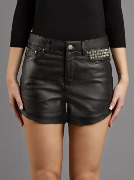 Fidia Studded Black Leather Shorts
