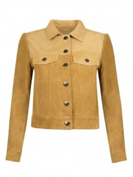 Finch Saffron Leather & Suede Jean Jacket