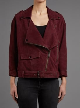 Fleetwood Burgundy Suede Biker Jacket