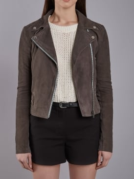 Flint Grey Suede Biker Jacket
