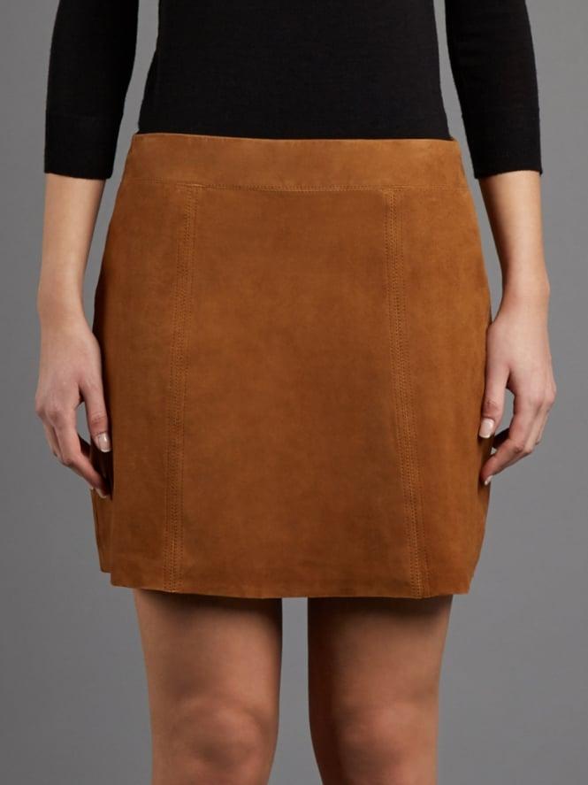 Flore Tan Suede Mini Skirt