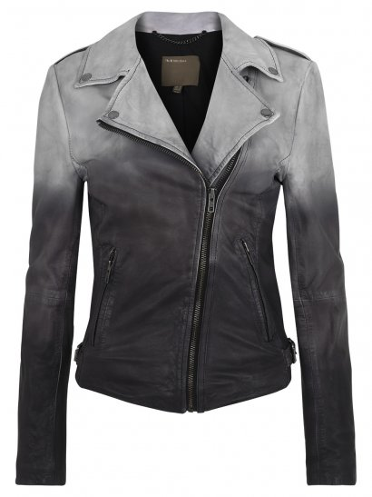 Fornas Dip Dyed Ombre Leather Biker Jacket in Ash