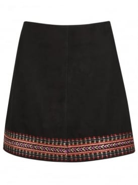 Forster Embroidered Black Suede Skirt