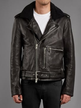 Galant Shearling Collar Leather Biker Jacket in Black