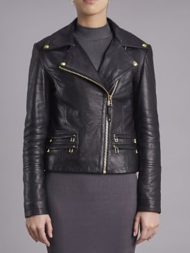 Gladiator Black Leather Biker Jacket